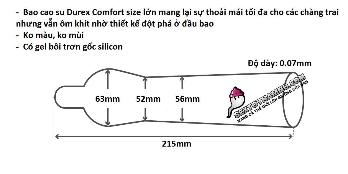 Chi tiết kích thước bao cao su Durex Comfort size lớn