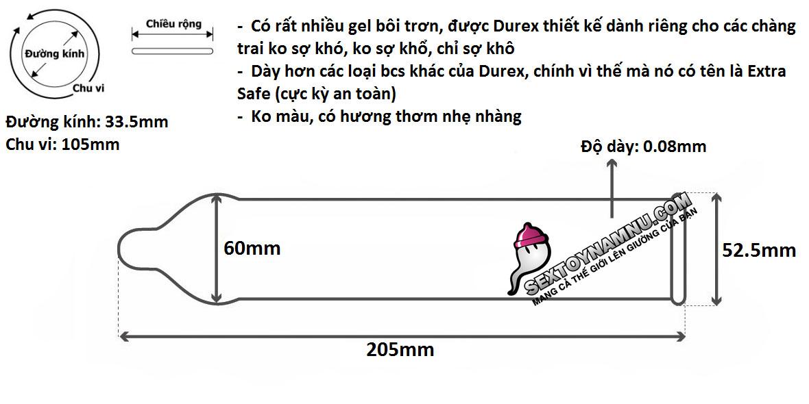 Chi tiết kích thước bao cao su Durex Extra Safe