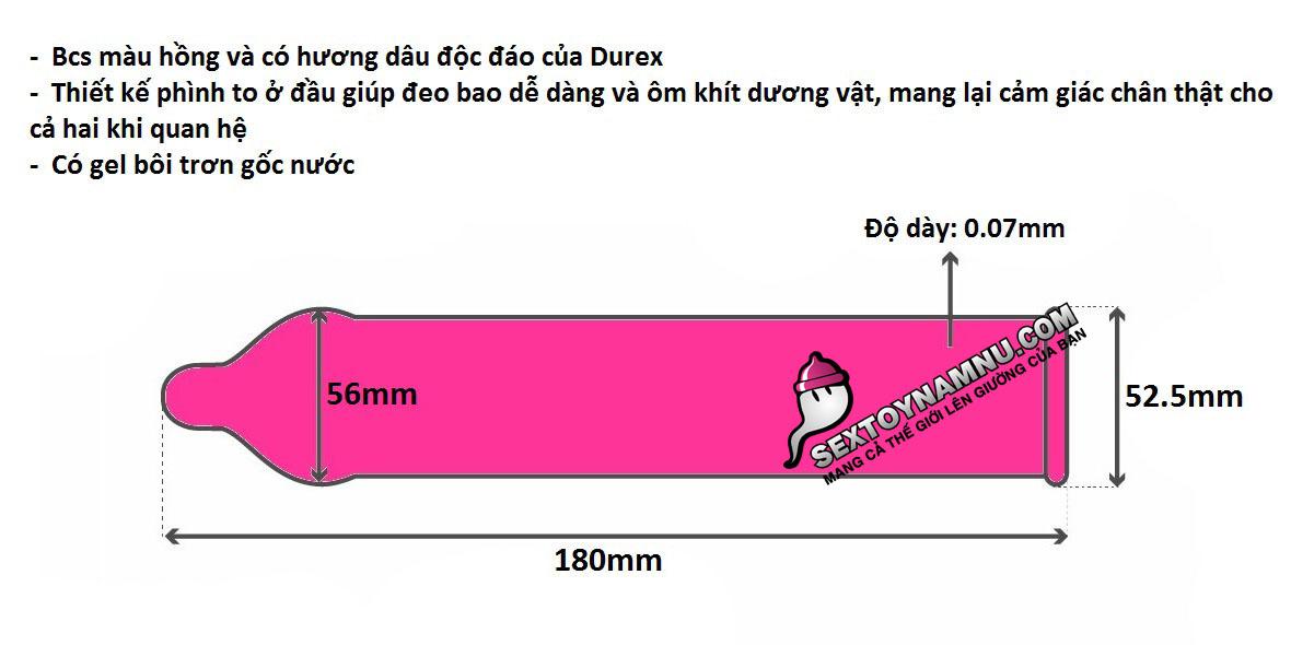 Chi tiết kích thước bao cao su Durex Strawberry